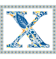 Blue letter X vector image vector image