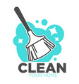 broomstick and soap cleaning tool isolated icon vector image vector image