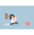 Businessman try to smashing piggy bank vector image