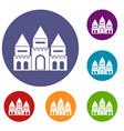 children house castle icons set vector image vector image