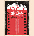 cinema movie poster with film strip and pop corn vector image