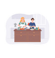 couple girlfriends cooking on kitchen table two vector image vector image