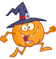 crazy witch pumpkin cartoon character running vector image vector image