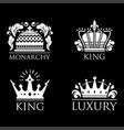 crown king vintage premium white badge heraldic vector image vector image
