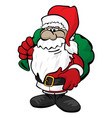cute christmas santa claus with toy sack cartoon vector image vector image