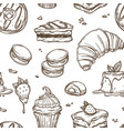 delicious cakes and bakery products sketches in vector image