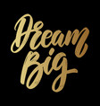 dream big lettering phrase on dark background vector image vector image
