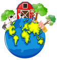 farmer and animals on the earth vector image