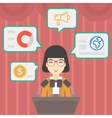 Female speaker on the podium vector image vector image
