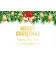 fir branch with golden christmas balls snow and vector image vector image