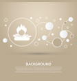 fire icon on a brown background with elegant vector image vector image