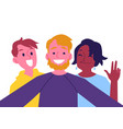 flat cheerful friend making selfie together vector image vector image