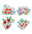 flowers and leafs set decorative icons vector image