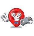 gamer map pointer navigation pin mascot cartoon vector image