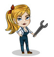 girl mechanic with wrench vector image