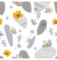 gold and grey flower stones seamless pattern vector image