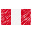 hand drawn national flag of peru isolated on a vector image vector image