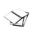 hand drawn open notebook on stack of books vector image