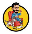 handsome guy sitting on sofa accompanied dog vector image vector image