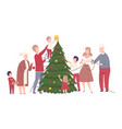 happy family preparing for new year holiday vector image