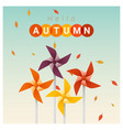 hello autumn background with colorful pinwheels vector image vector image