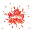 hello autumn watercolor floral design maple leaf vector image vector image