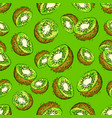 kiwi seamless pattern half green background vector image