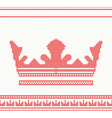 knitted crown seamless pattern in red color vector image
