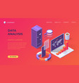 landing page for computer data analysis vector image