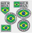 made in brazil label set with flag vector image