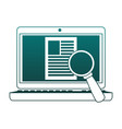 magnifying glass on computer blue lines vector image vector image