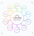 minimal style circle infographic template with 10 vector image vector image
