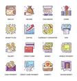 money management flat icons set vector image