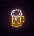 neon beer mug with foam night bright neon sign vector image vector image