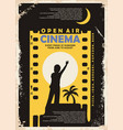 open air cinema vintage poster design vector image