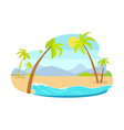 palm trees on coastline mountains in background vector image vector image