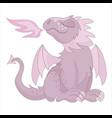 pink dragon fairy tale cartoon animal vector image