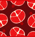 pomegranate pattern seamless red fresh juicy vector image vector image