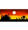 ramadan kareem background with mosque and camel tr vector image