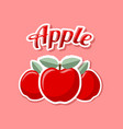 retro apples on pink background vector image vector image
