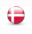 Round icon with national flag of Denmark vector image vector image