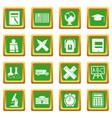 school icons set green vector image vector image