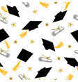 seamless pattern with graduation caps and gold vector image
