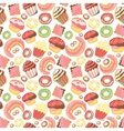 Seamless pattern with various pastries Bakery vector image vector image