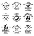 set baseball emblems design element for logo vector image vector image