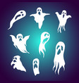 set cartoon ghost with spooky face vector image vector image