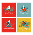set cute christmas greeting cards postcards vector image