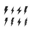 set lightning bolt with grunge texture vector image