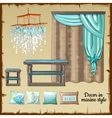Set of decor and furniture in a nautical style vector image vector image