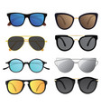 set of sunglasses collection of stylish glasses vector image